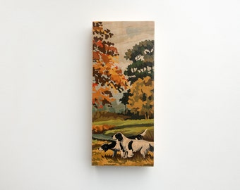 """Paint by Number Large  6"""" x 14"""" Art Block 'Hunting Dogs' - autumn, fall color, vintage landscape"""