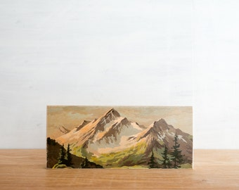 Paint by Number Art Block 'Twin Peaks' -  mountain valley, vintage landscape