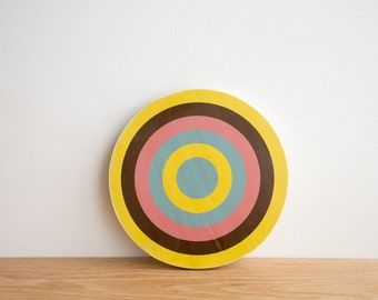 Target Wall Art, Circle Wall Decor, Target Art, Bull's Eye Art, Archery Target Art, Target Wall Hanging, Yellow/Brown/Pink/Blue, Colorway #9