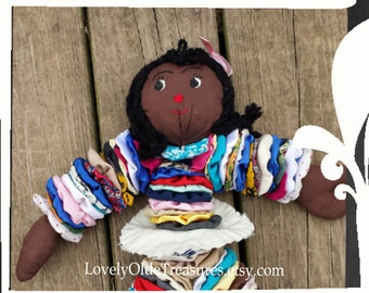 REDUCED Handmade Granny Circle Doll- Primitive Rag Doll- Americana Collectible- Vintage Country Decor- Primitive Decor- Black History Doll