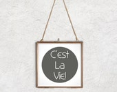 "Wall Decor Inspirational Art ""C'est La Vie"" Motivational Quote in Grey and White 