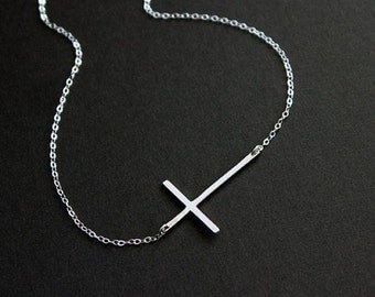 Silver Sideways Cross Necklace, Celebrity inspired necklace, silver cross necklace, tiny cross necklace, Kelly Ripa Necklace, Selena Gomez