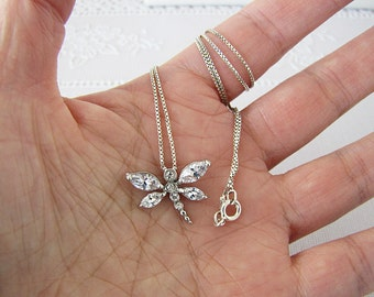 Dragonfly sterling silver necklace, CZ dragon necklace, 18 inches, Minimalist