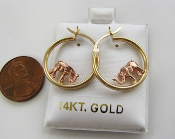 14KT Gold Elephant Hoop Earrings decorated rose gold elephant, lucky charm, 14k gold earrings