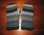 Felted Wool Mittens made from Recycled (Upcycled) Wool Sweaters Adult Medium Striped Tan Navy Green Brown Black Brown Gray Grey Charcoal