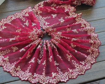 2 Yards Lace Trim Beige Embroidered Red Tulle Lace Trim 5.9 Inches Wide High Quality
