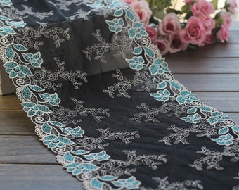 2 Yards Lace Trim Cyan Embroidered Black Tulle Lace Trim 9.84 Inches Wide High Quality