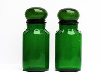 1 french vintage green glass bottles and stopper, green glass jar,  kitchen canister, retro kitchen