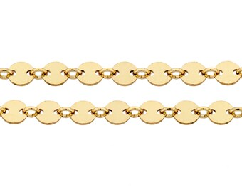 14Kt Gold Filled 4mm Plain Flat Sequin Disc chain - 100ft (5318-100) Made in USA LOWEST PRICE wholesale quantity High Quality