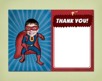digital super hero thank you card