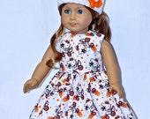 Fits American Girl Doll - Handmade Doll Clothes - White Kiss On Bike Dress