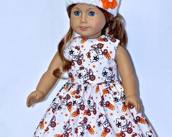 Fits American Girl Doll - Handmade Doll Clothes - White Kiss On Bike Dress