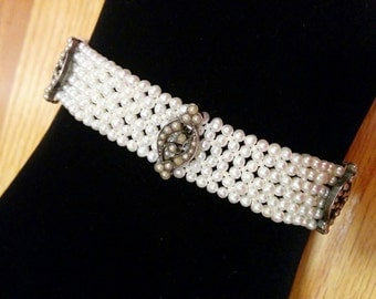 Hand Woven Sterling Silver Seed Pearl Bracelet - Perfect for Bridal Jewelry