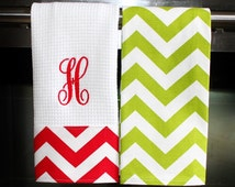 Monogrammed  Kitchen Towels or Hand Towels in Christmas Chevron