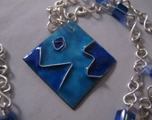 Silver wire wrapped necklace pendant enamel cloisonne crystal with adjustable chain, limited edition, one of a kind