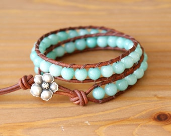 Sky Blue Jade Bohemian beaded leather wrap bracelet, double, gemstone, boho glam, jewelry, gift idea, silver flower, hipster, SALE
