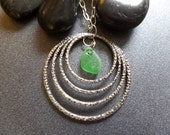 Silver Rings Necklace with Green Scottish Sea Glass Long Chain Gift from Scotland Golf