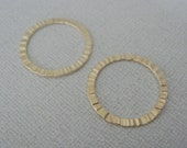 Matte Gold Single Hammered Circle Connector, Medium Ring Link Pendants, Charms, Earring Findings, Eternity Charm, 2 pc W834S