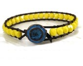 Lemon Yellow Opaque Czech on Brown Leather Wrap Bracelet with Turquoise bronze Button/ Boho Modern Chic/ Ready to Ship.