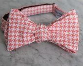 Coral Hounstooth Bow Tie - Self tying - freestyle - Groomsmen gift and ring bearer outfit