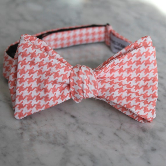 Coral Hounstooth Bowtie - Self tying - freestyle, clip on, or pre-tied with strap for men or boys  - wedding ties ring bearer outfit