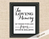 SALE!!! In Loving Memory Sign - Printable DIY 8x10 Sign - Wedding Reception Sign - In Loving Memory of Those Who Are Forever in Our Hearts
