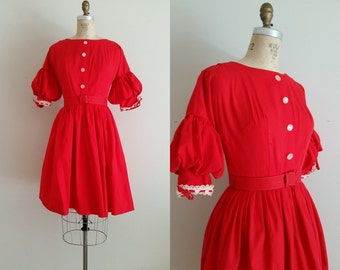 Vintage 1950s Red Dress / Day Dress / Cotton Dress / Lantern Sleeve /  XS