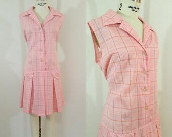 Vintage 1960s Pink Scooter Dress / Romper / Pink Plaid / XL