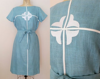 1960s Blue Linen Dress // EASTER LILIES DRESS // Vintage 60s Tie Waist Dress // xl