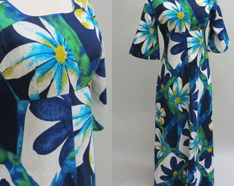 Vintage 1960s Hawaiian Maxi Dress by UI-MAIKAI Size Small