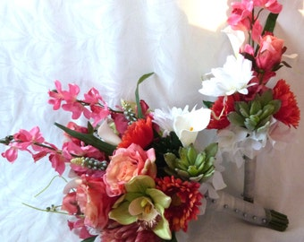 Tropical white coral pinks Bouquet with Artificial Succulents