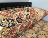 Kalamkari EXTRA Wide Queen Size Body Pillowcase, Red Medallion