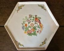 Vintage Slovanian Hexagonal Flowers Bird Lunch Dinner Plate circa 1960's / English Shop