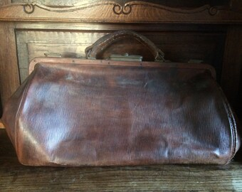 Vintage French Thick Leather Doctors Bag Case circa 1920-30's / English Shop