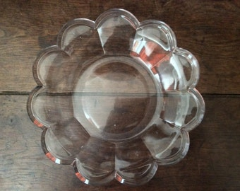 Vintage French Thick Heavy Large Glass Serving Plate Dish Bowl circa 1960's / English Shop
