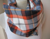 Denver broncos infinity scarves-Orange navy blue white tartan plaid scarf/flannel shirt scarf/man -women-fanatics winter fashion accessories