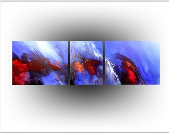 Original Painting Acrylic Abstract Triptych Palette Knife Blue And Red Home and Living Office Wall Decor Home Decor 16 x 54 - Skye Taylor