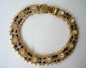 Vintage Bracelet Clear Glass Rhinestones and Black Beads
