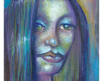 """Original OOAK portrait painting """"INDIFFERENCE"""" by Tom Taggart"""