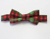 Future Gentleman Christmas Baby Bow Tie with Red, Green, and Gold Plaid/ First Christmas/ Photography Prop/ Holiday Photo/ Baby Accessory