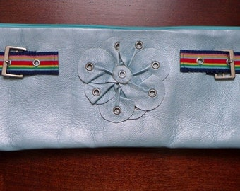 Pearl Baby Blue Leather Clutch with Grommet Flower, Rainbow Ribbon and Buckle Accent