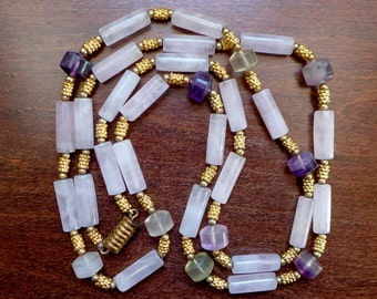 Vintage Amethyst, Citrine, & Rose Quartz Necklace with Beaded Gold Beads