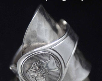 Spoon Ring, Vintage Roman Medallion 1868 Whole Spoon Ring size 10, Spoon Jewelry, Bent Spoon Jewelry