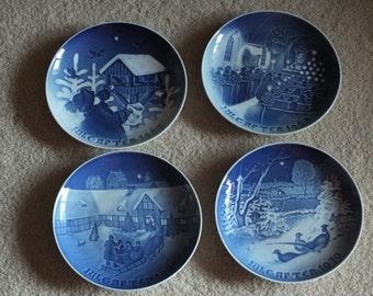 ON SALE 4 Vintage Bing & Grondahl Jule After Christmas Blue Plates - 1967, 1968, 1969, 1970