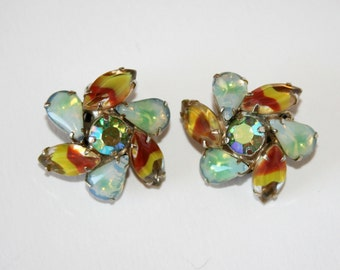 Vintage Rhinestone Givre Glass Earrings 1950s Fifties