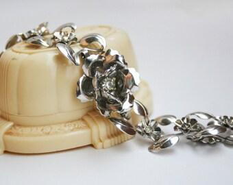 Vintage Rhinestone Rose Chrome Bracelet