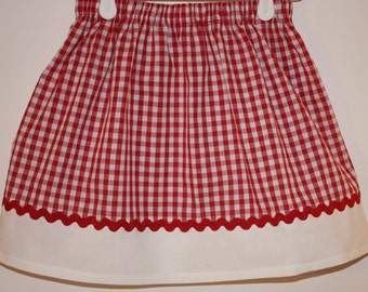 Red and White Skirt   Size 2 to 7