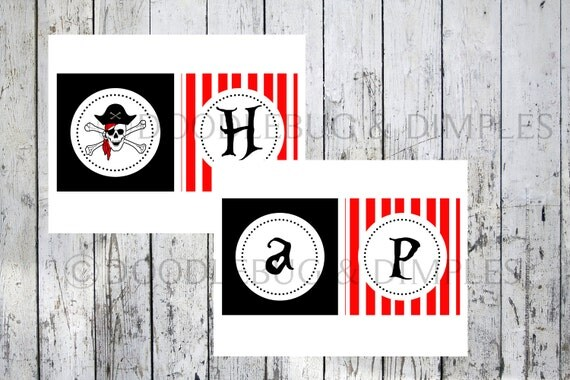 Personalized Printable Pirate Party Birthday Banner