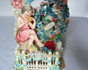 Vintage Victorian Valentine Angel Playing Flute Picket Fence Germany Honeycomb LARGE
