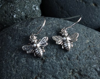 Silver Honeybee Bumble Bee Earrings, sterling bee earrings, bee earrings, wedding gift, bridesmaid gift